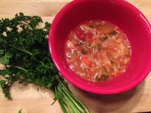 Home-made Veggie Broth used to make Cabbage Soup