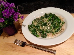 Cashew Bechemel aka Creamed Greens over Brown Jasmine Rice
