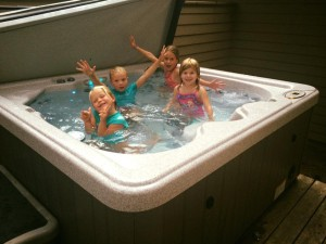 The kids also hit the hot tub.