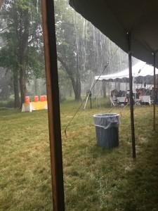 Raining hard