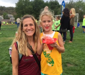 Proud Mama and Peanut with her post race treat