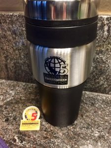 5 year pin and Travel Mug!